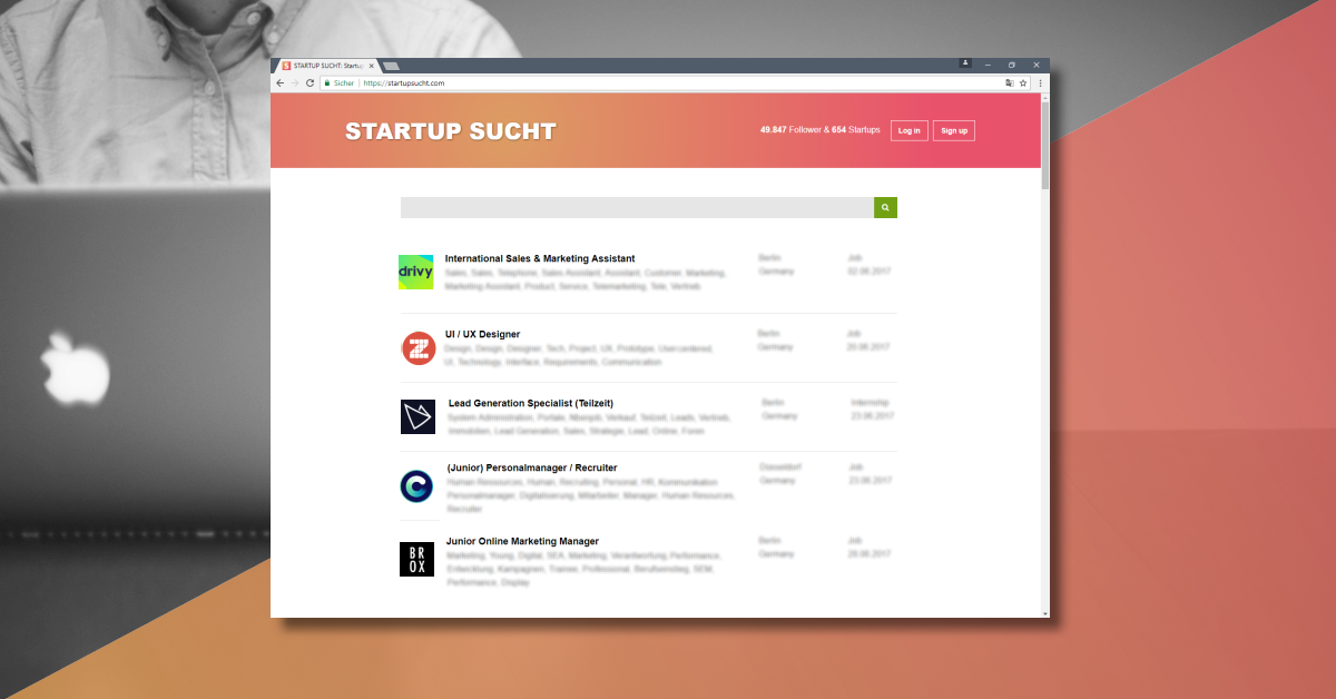 werkstudent web entwicklung startup jobs